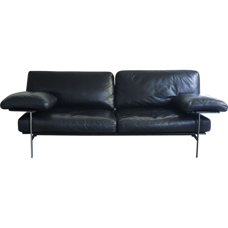 Black leather Diesis sofa for Antonio Citterio - B & B Italia, 1979