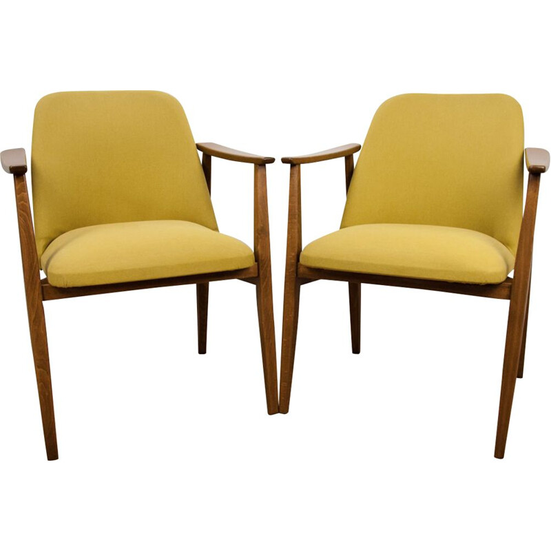 Pair of yellow Vintage Danish Armchairs, 1960