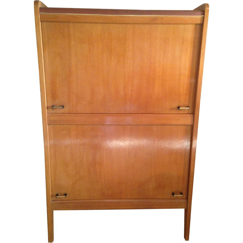 Vintage wood and leatherette storage cabinet