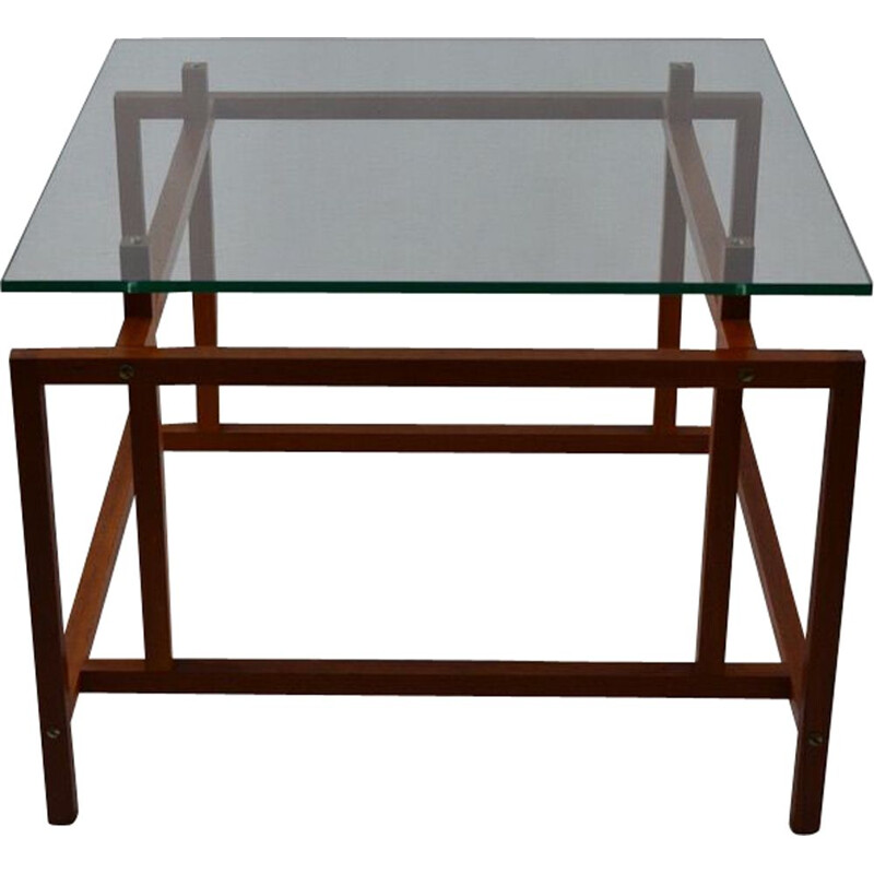 Vintage coffee table in teak and glass