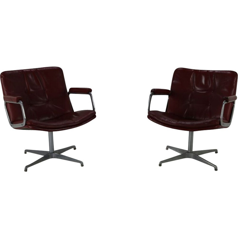 Set of 2 vintage leather lounge chairs by Geoffrey Harcourt