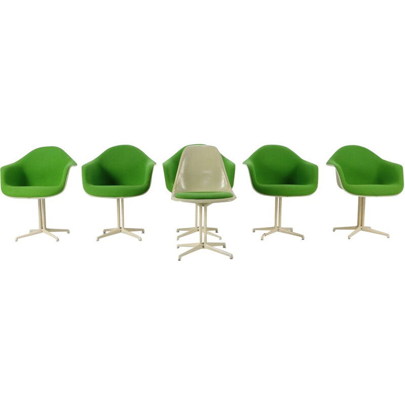 Set of 5 vintage shell armchairs and 1 chair La Fonda DAL by Eames