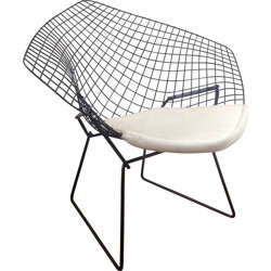 Diamant armchair in metal and white leatherette, Harry BERTOIA - 1950s