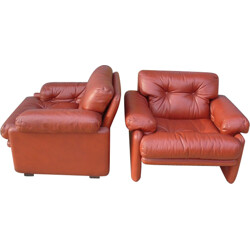 Pair of brown leather armchairs, Afra & Tobia SCARPA - 1960s