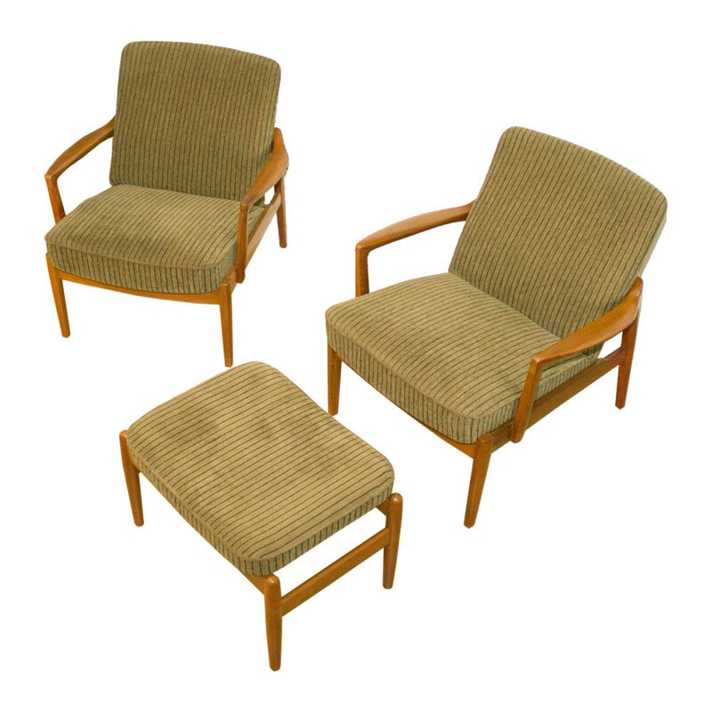 """Set of 2 vintage Danish lounge chairs and ottoman """"125"""" by Tove & Edvard Kindt-Larsen for France & Son"""