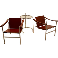 Set of LC1 armchairs and cognac leather and chrome steel, LE CORBUSIER, Charlotte PERRIAND & Pierre JEANNERET - 1970