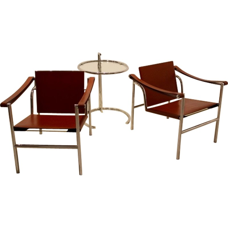 Set Of LC Armchairs And Cognac Leather And Chrome Steel LE - Fauteuil design le corbusier