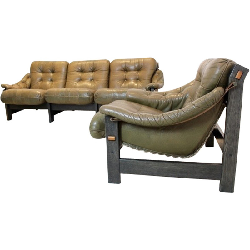 Set of 3-seater sofa and its armchairs in leather and Brazilian ebony - 1970s