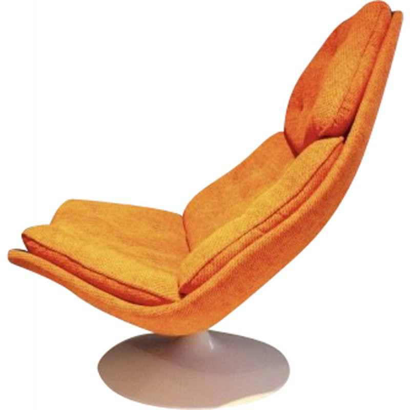 Swivel Chair In Orange Fabric And Wood Geoffrey Harcourt 1960s