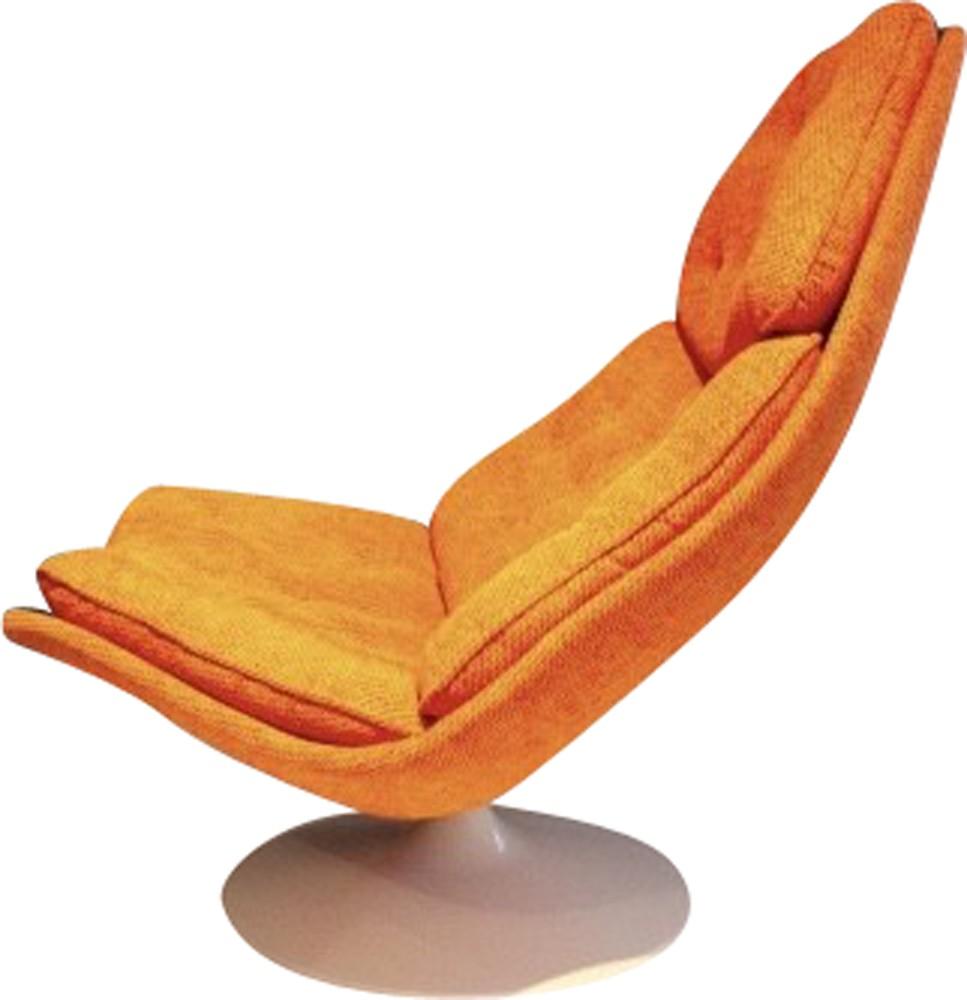 swivel chair in orange fabric and wood geoffrey harcourt