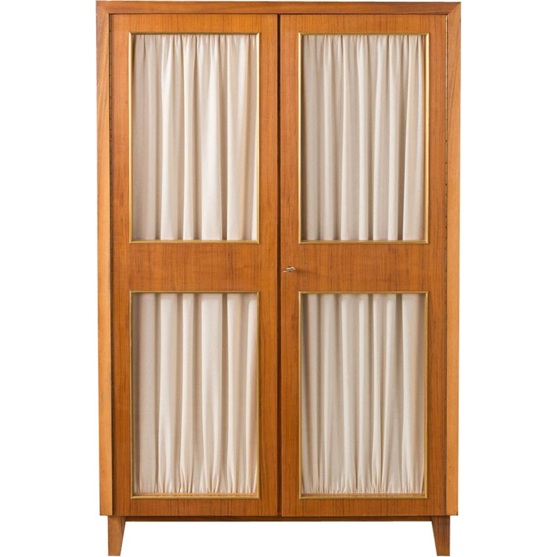 Vintage wardrobe for Musterring in walnut and with curtains 1950s