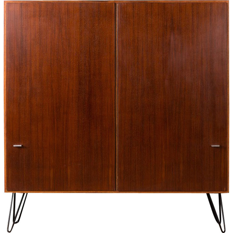 Vintage shoe cabinet in rosewood and steel 1950s