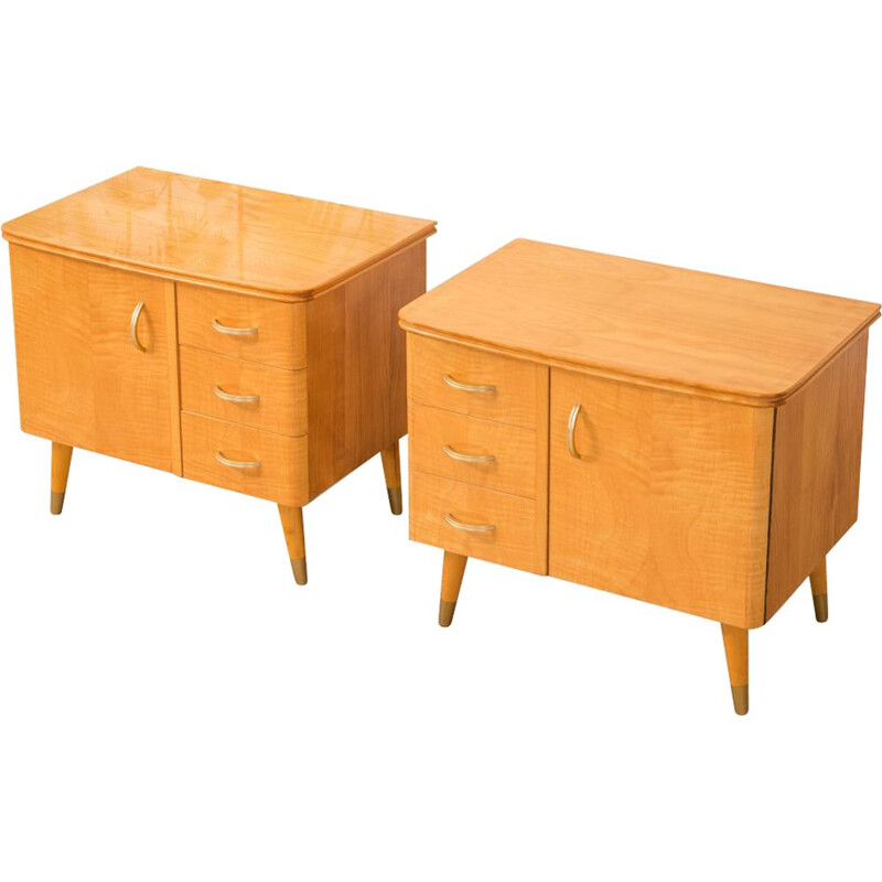 Set of 2 vintage bedside tables in cherrywood 1950