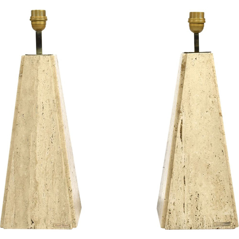 Set of 2 vintage lamps in travertine brass by Camille Breesch