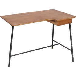 Tripod desk in wood and metal, Jacques HITIER - 1950s