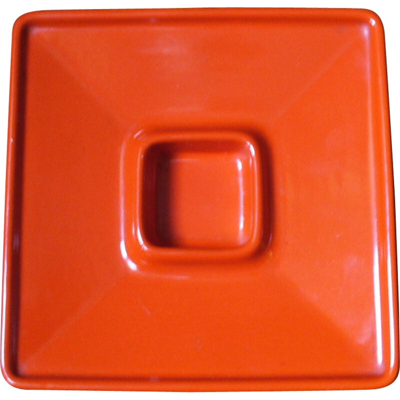 Orange ceramic ashtray, Angelo MANGIAROTTI - 1965