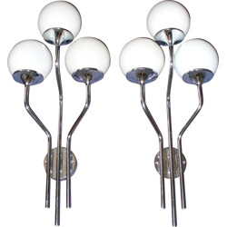 Pair of Opaline glass and chromed nickel wall lamps, Gioffredo REGGIANI - 1970s