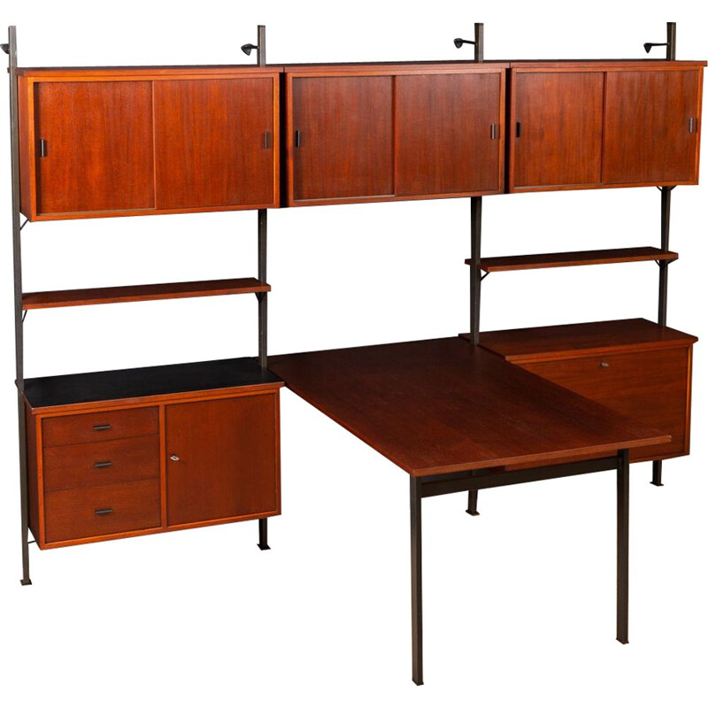 Vintage Scandinavian wall unit with desk in teak
