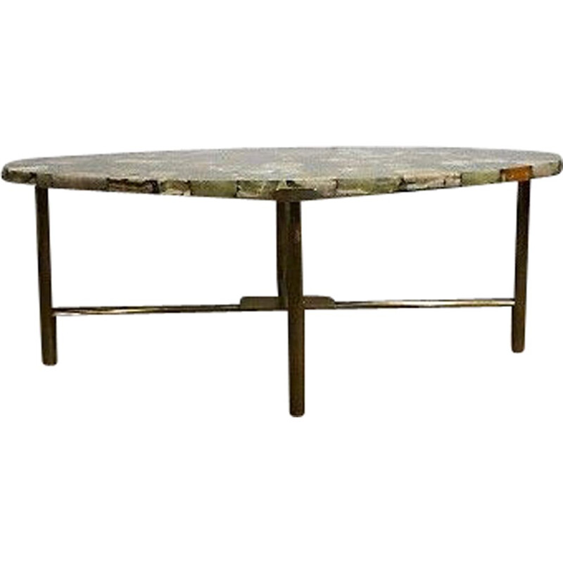 Vintage coffee table in brass and onyx from madagascar
