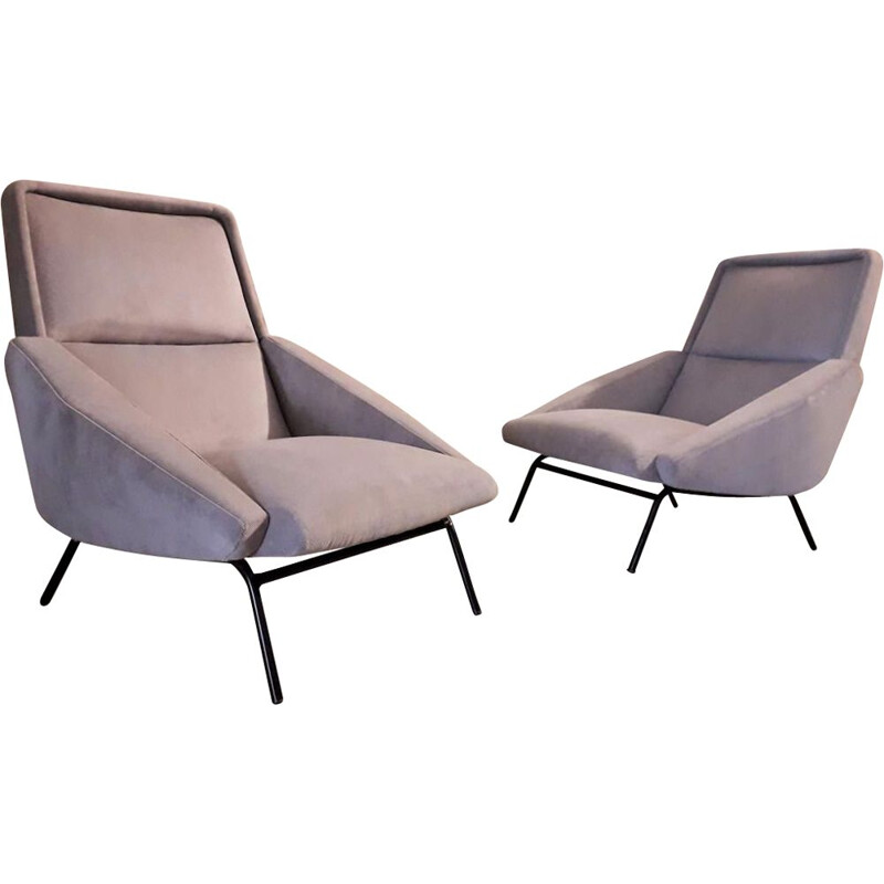 Pair of vintage grey chairs by Guermonprez, France 1950