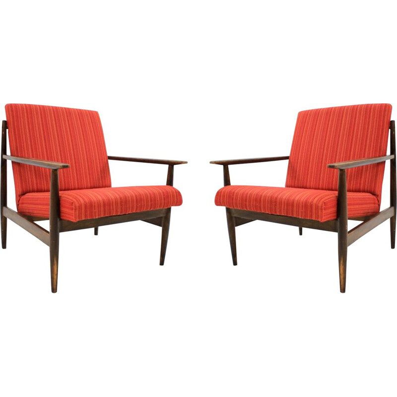 Pair of red vintage armchairs, 1970