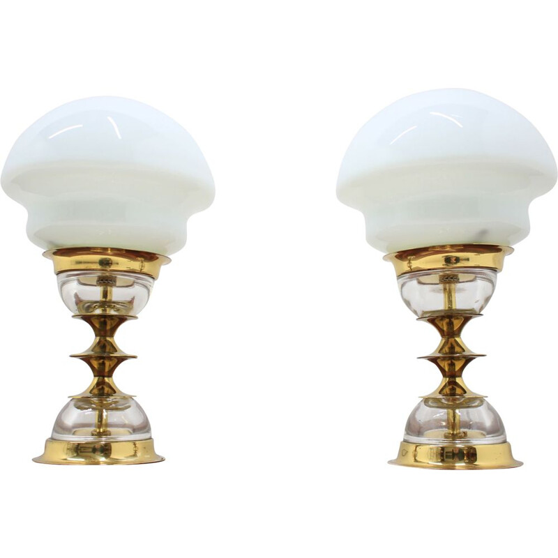 Set of two table lamp by Jablonecke sklarny, 1980