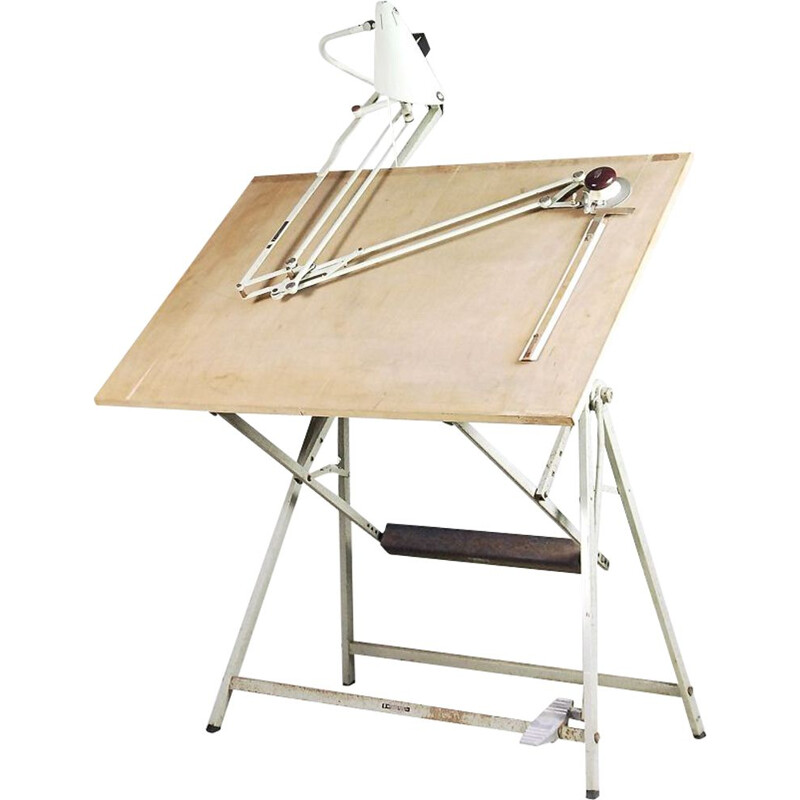 Vintage dutch drawing table for Valasske Mezirici in wood and metal 1950