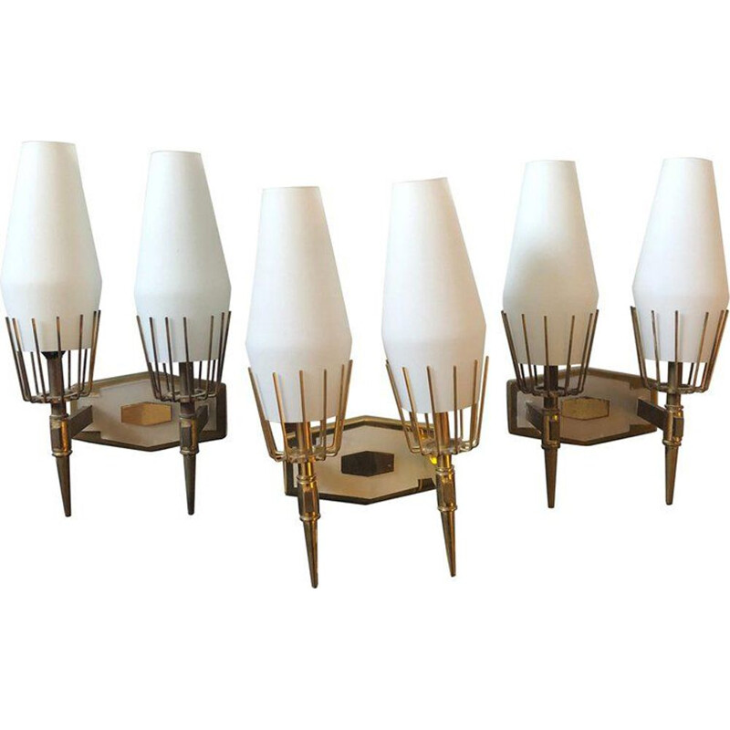 Set of 3 vintage italian brass and glass wall sconces 1950