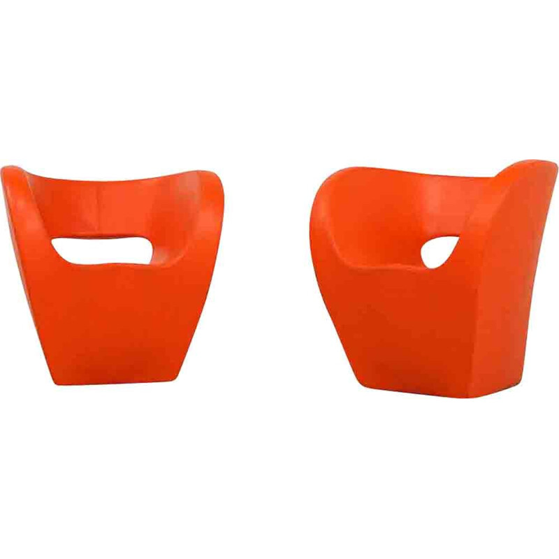 Pair of vintage orange Victoria and Albert armchairs for Moroso