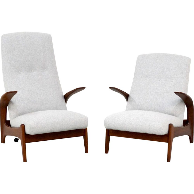 Pair of vintage armchairs for Gimson & Slater in teak and gray fabric