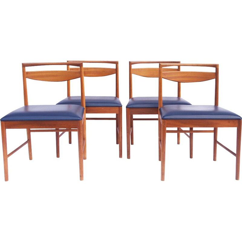 Set of 4 vintage chairs in teak and blue leatherette 1960