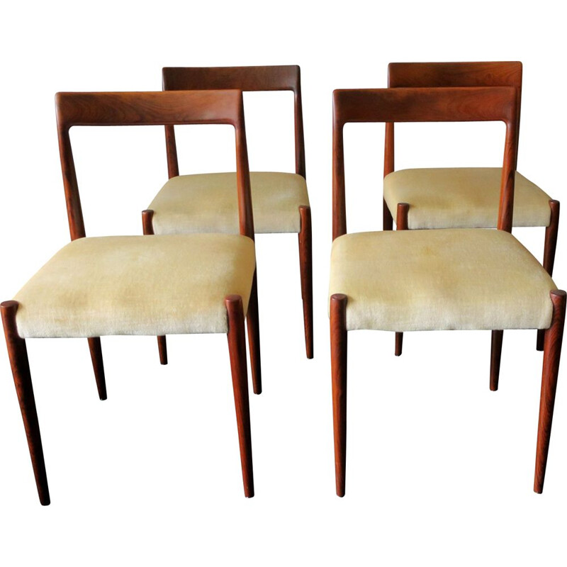 Set of 4 vintage chairs in rosewood and beige fabric 1960