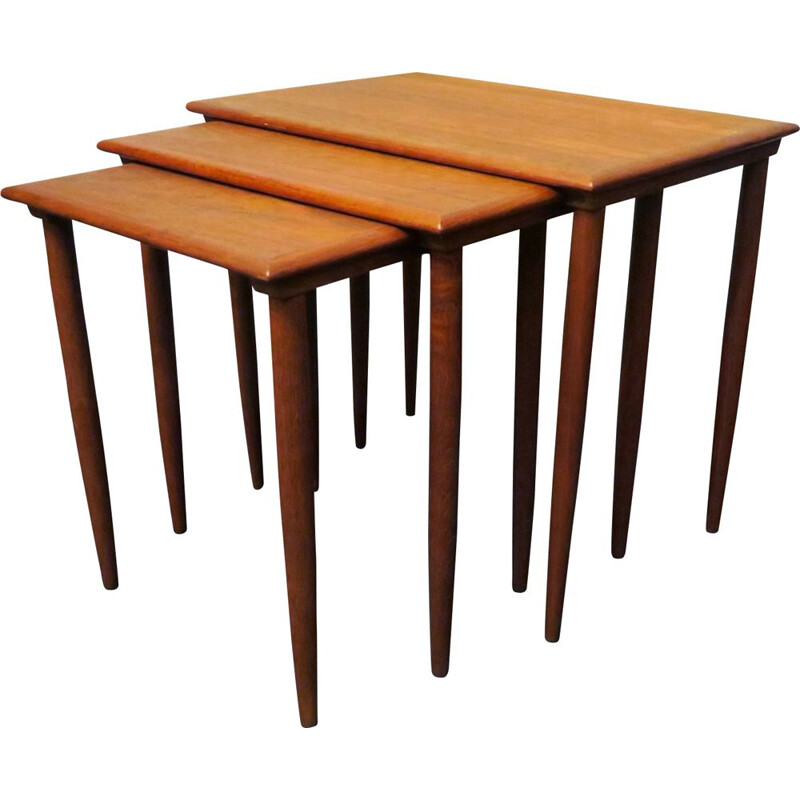 Set of 3 vintage danish nesting tables in teak 1960