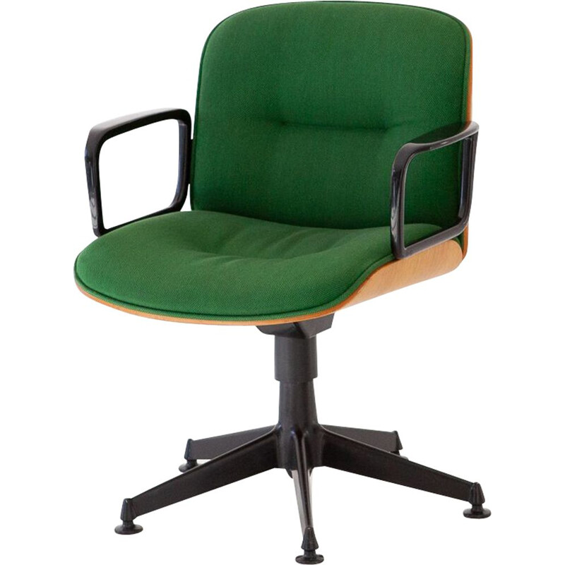 Green chair in oakwood by Ico Parisi for MIM