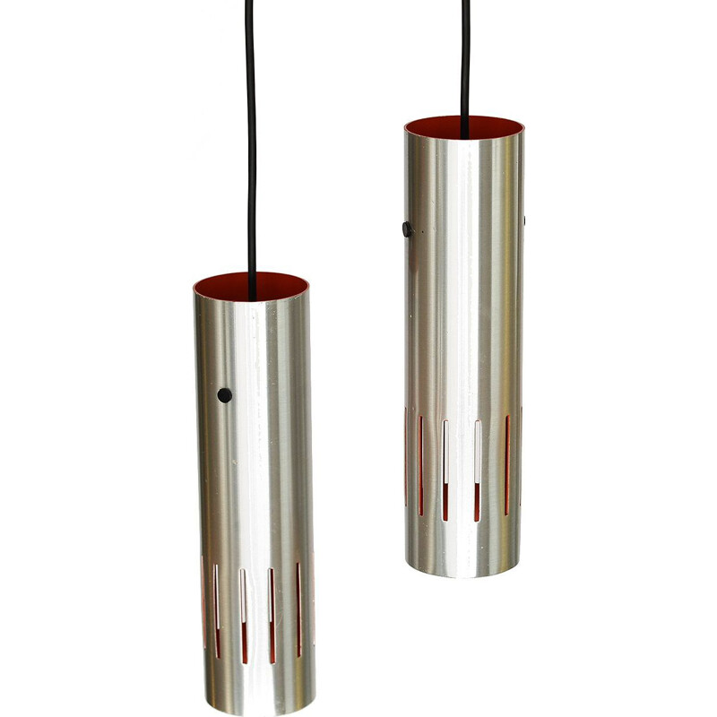 Pair of pendant lights in aluminum by Jo Hammerborg