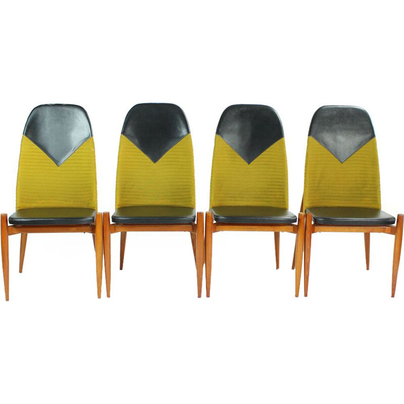 Set of 4 vintage chairs in teak and yellow fabric 1970