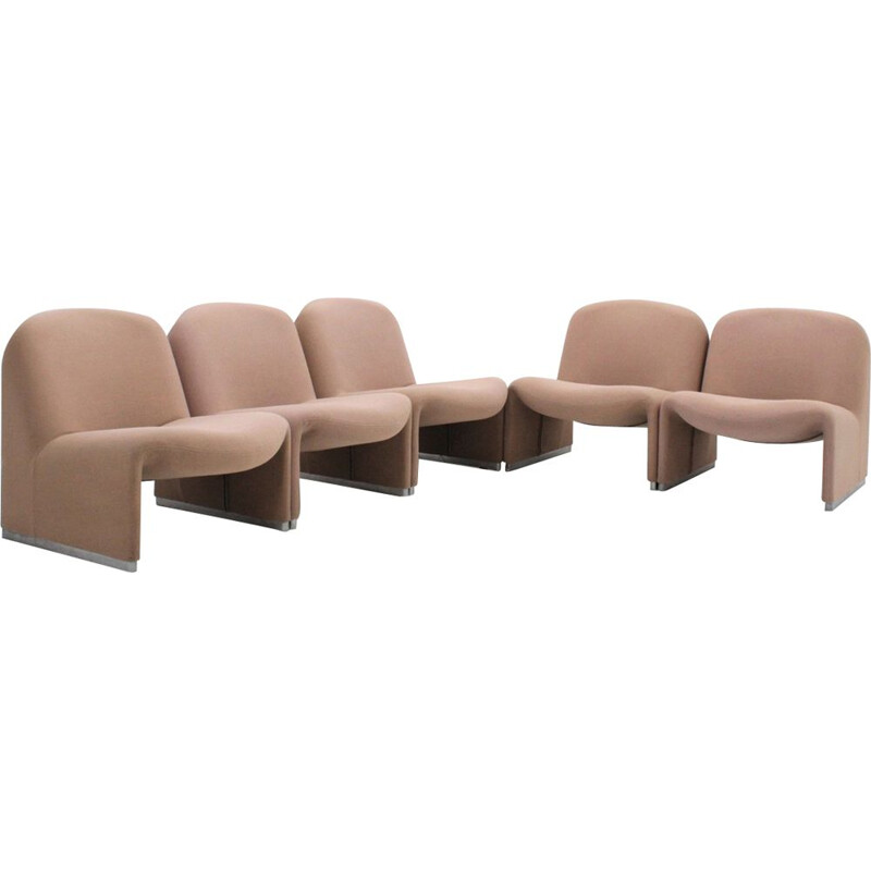 Set of 5 vintage Alky armchairs for Castelli in beige fabric and aluminium