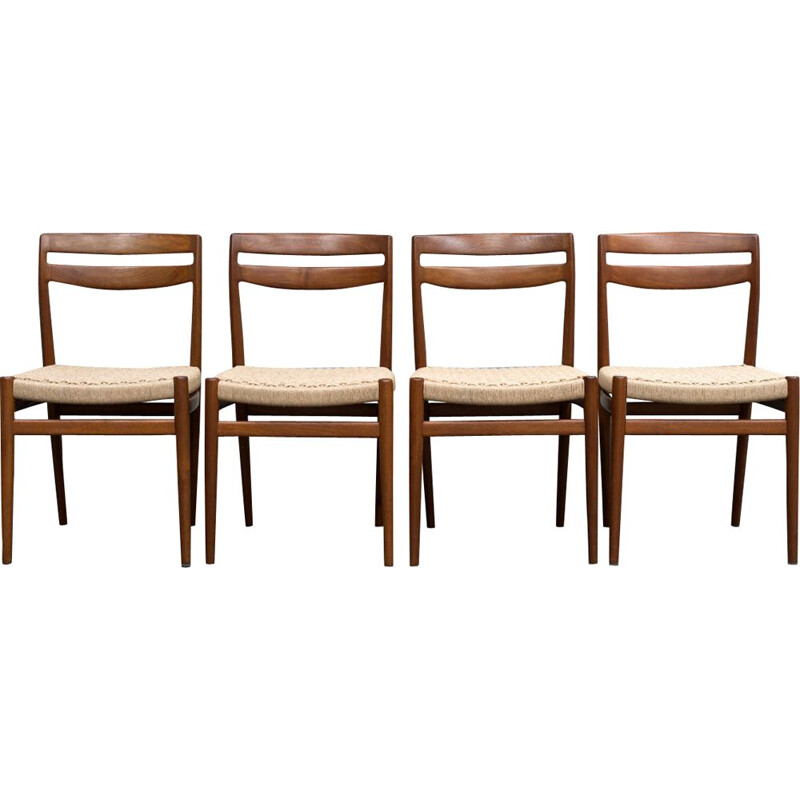 Set of 4 vintage chairs for Nesjestranda in teak and rope
