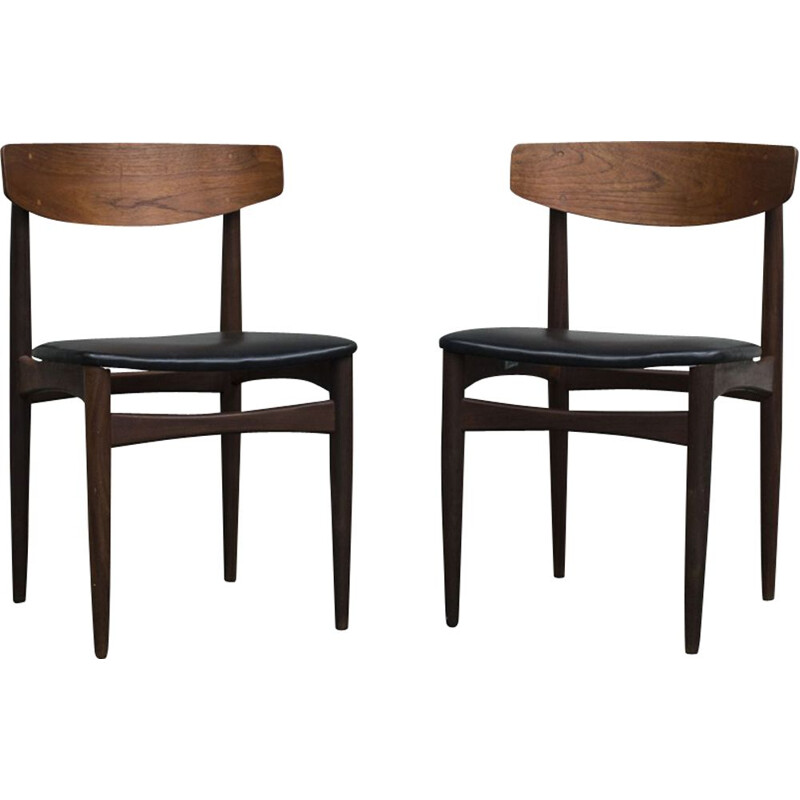Pair of vintage scandinavian chairs for Bramin Samcom in leatherette and teak