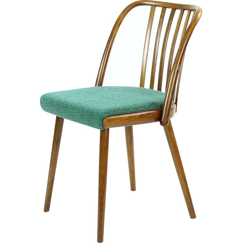 Set of 4 vintage chairs for Interior Praha in benchwood and green fabric