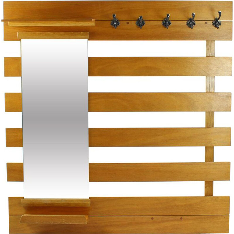 Vintage coat rack with mirror and shelves in wood and metal 1960