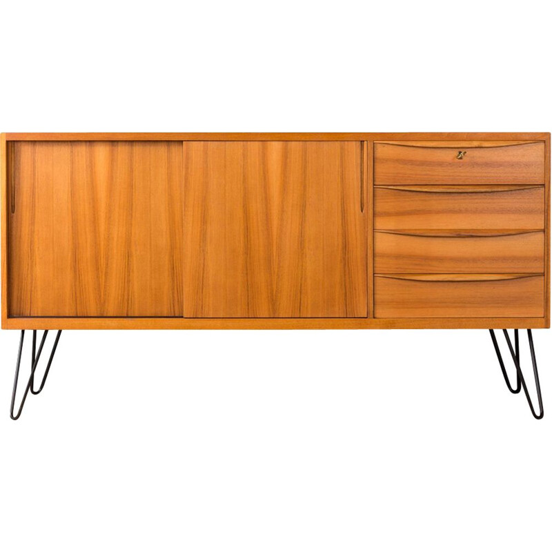 Vintage german sideboard in walnut and steel 1950