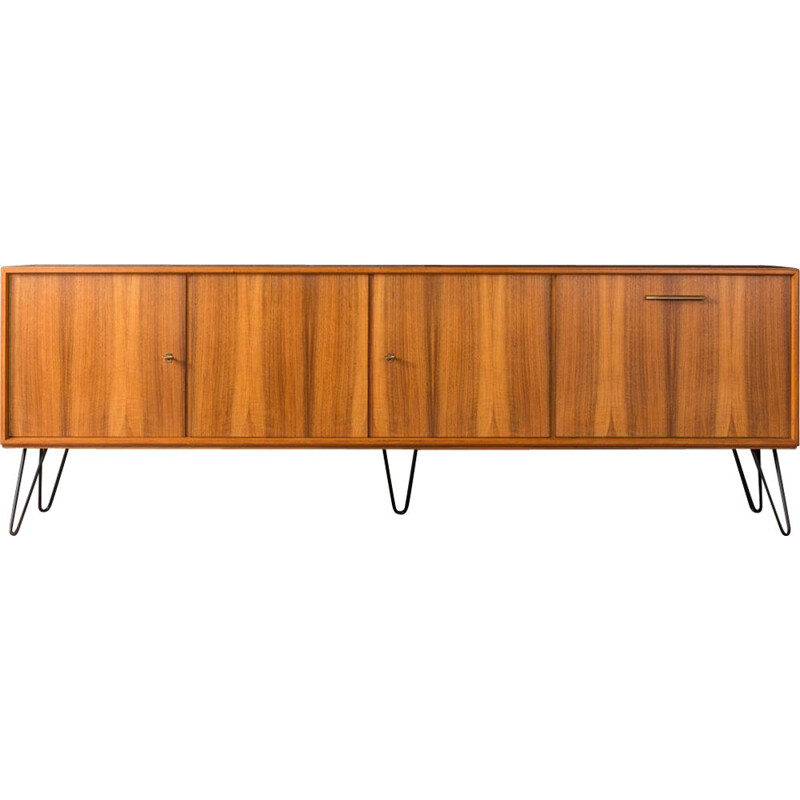 Vintage german sideboard in walnut and steel 1950s