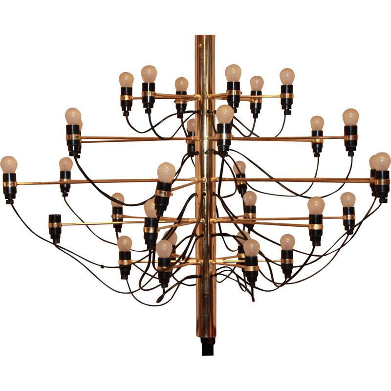Vintage 2097/30 chandelier for Arteluce in golden steel 1950