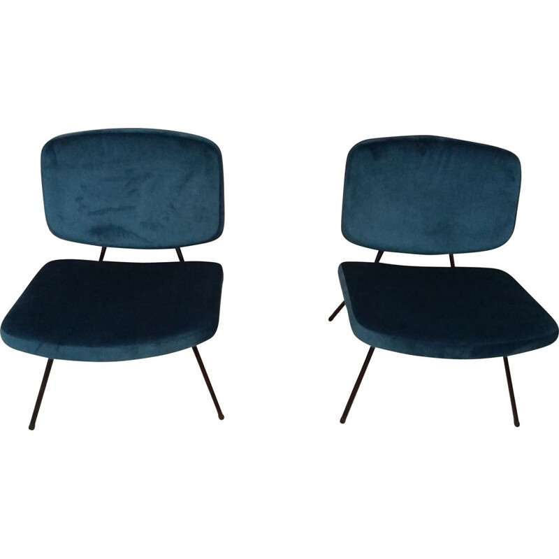 Pair of vintage CM 190 armchairs without arms for Thonet in walnut