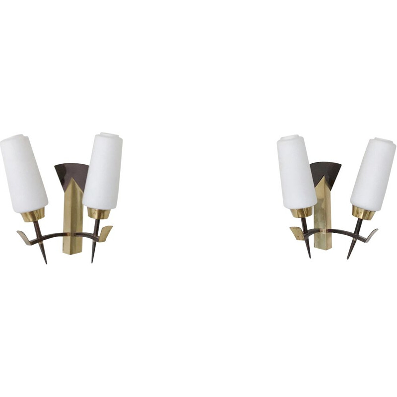 Pair of vintage french brass and opaline sconces 1950