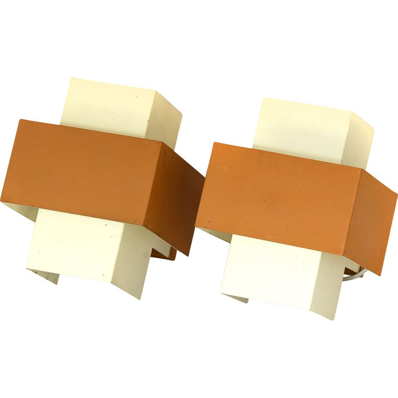 Pair of vintage dutch sconces by Philips in yellow and beige metal 1960s