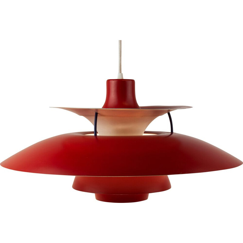 Red PH50 pendant lamp by Poul Henningsen
