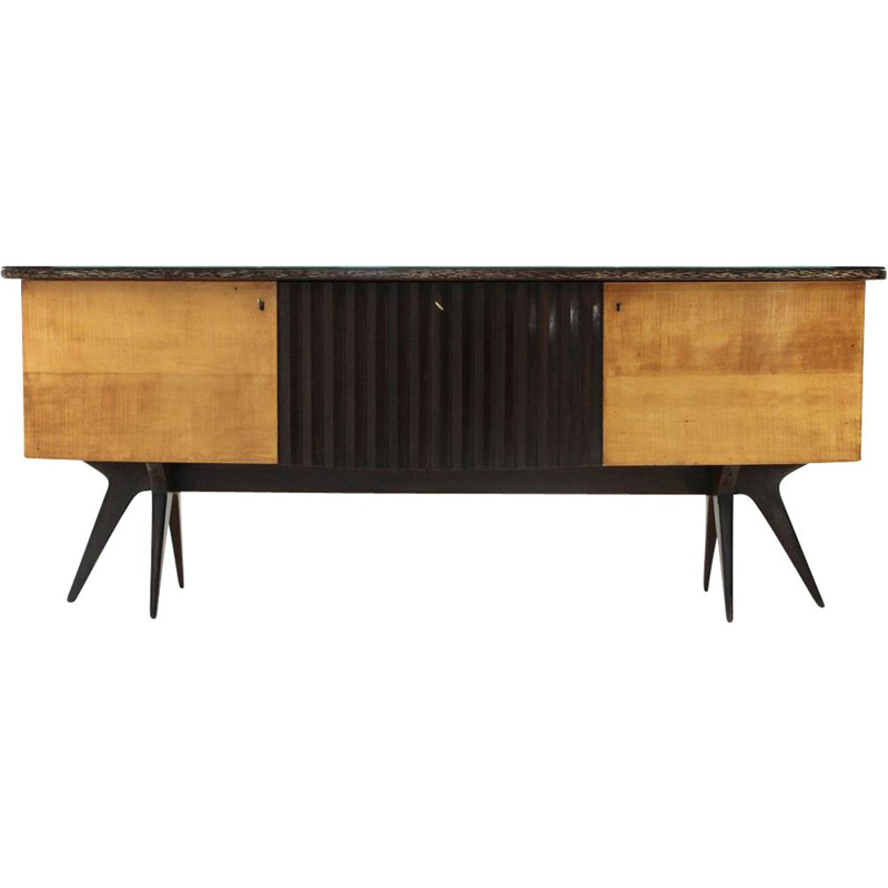 Vintage Italian sideboard in wood and glass