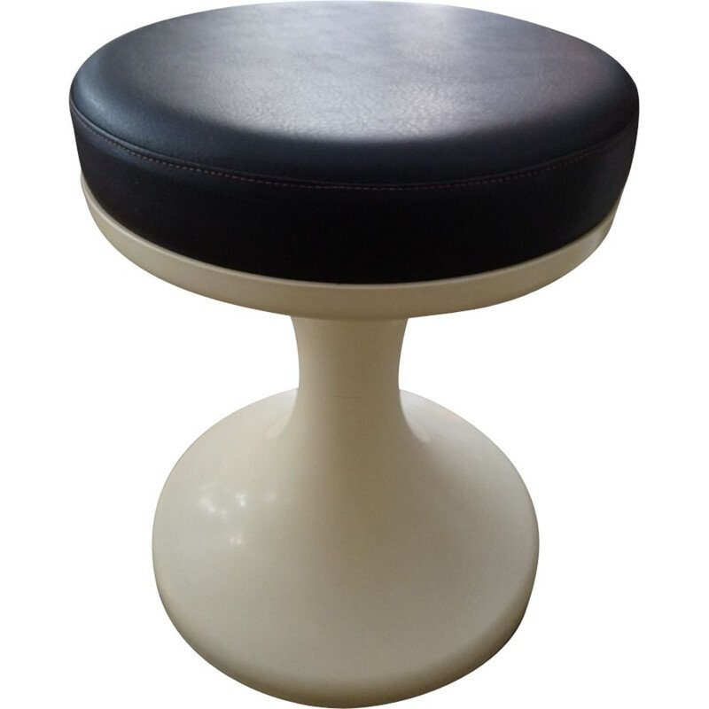 Vintage cream stool in plastic with brown seat